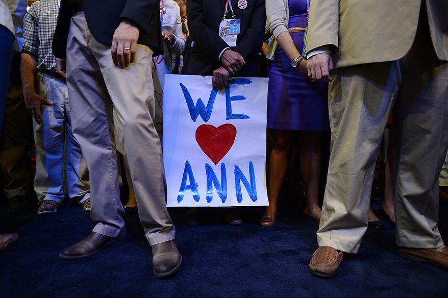 Delegates wait for Ann Romney, wife of nominated Republican presidential candidate, Mitt Romney, to address the Republican National Convention at the Tampa Bay Times Forum in Tampa, Fla. on Tuesday, August 28, 2012. (Andrew Harnik/ The Washington Times)