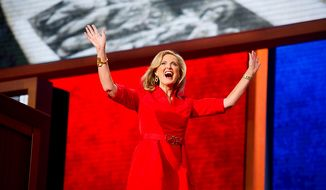 Ann Romney waves to the crowd after giving a speech at the Republican National Convention, Tampa, Fla., Tuesday, August 28, 2012. (Andrew Harnik/The Washington Times)