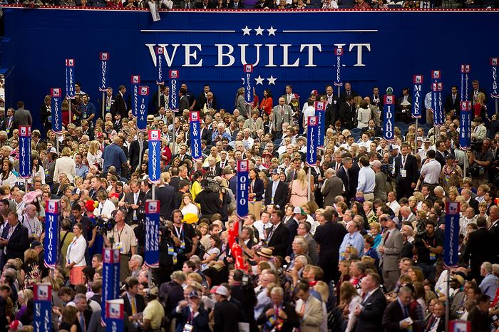 Delegates pack the Republican National Convention in Tampa, Fla., on Tuesday, Aug. 28, 2012. (Andrew Harnik/The Washington Times)