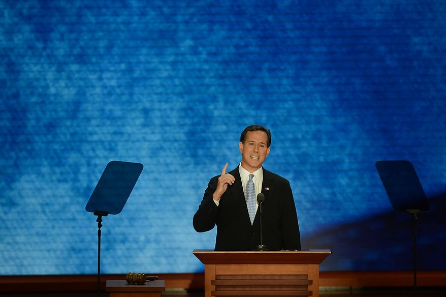 Former U.S. Senator Rick Santorum addresses the Republican National Convention at the Tampa Bay Times Forum in Tampa, Fla. on Tuesday, August 28, 2012. (Rod Lamkey, Jr./ The Washington Times)