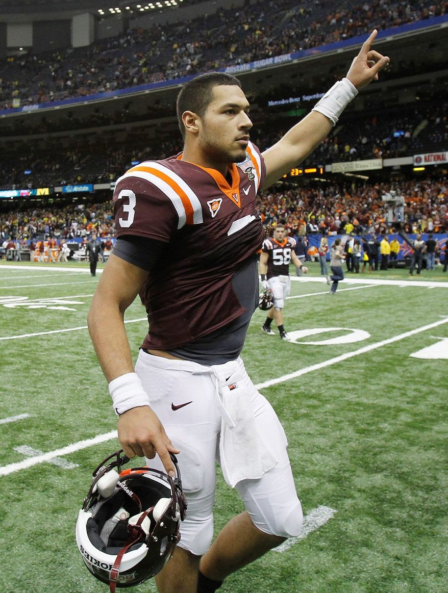 Virginia Tech quarterback Logan Thomas (3) waves to fans as he walks off the field following a 23-20 loss to Michigan in the Sugar Bowl NCAA college football game in New Orleans, Tuesday, Jan. 3, 2012. (AP Photo/Bill Haber)