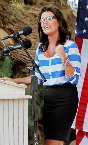 **FILE** Former Alaska Gov. and Republican vice presidential candidate Sarah Palin speaks at a campaign rally for Kirk Adams, a Republican candidate for U.S. Representative from Arizona's 5th Congressional District, on Aug. 27, 2012, in Gilbet, Ariz. (Associated Press)
