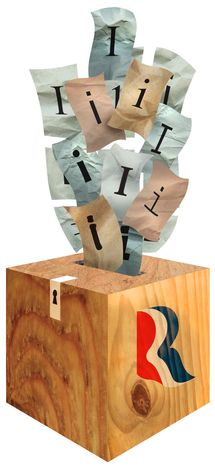 Illustration Independents for Romney by Greg Groesch for The Washington Times