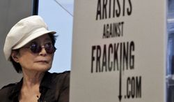 **FILE** Yoko Ono appears at a news conference to launch the coalition of artists opposing hydraulic fracturing on Wednesday, Aug. 29, 2012, in New York. (Associated Press)