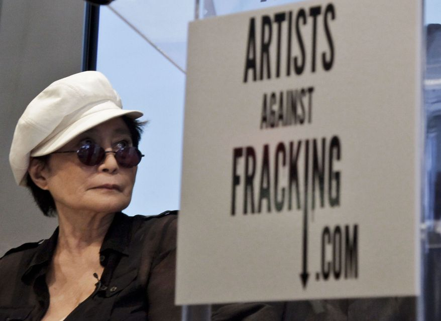 "Yoko Ono appears at a news conference to launch the coalition of artists opposing hydraulic fracturing on Wednesday, Aug. 29, 2012 in New York. The formation of the group, called Artists Against Fracking, comes as New York Gov. Andrew Cuomo decides whether to allow shale gas drilling using high-volume hydraulic fracturing called hydrofracking. The group says such drilling is harmful and poses the threat of contamination. They say they want to spread awareness of the issue through ""peaceful democratic action."" Cuomo is expected to allow drilling to begin on a limited basis near the Pennsylvania border. The group is comprised of 146 members including Lady Gaga, Paul McCartney and Alec Baldwin. (AP Photo/Bebeto Matthews)"