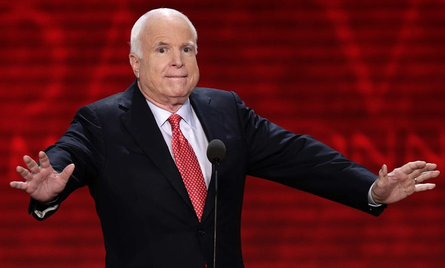 Sen. John McCain, Arizona Republican, reacts to the delegates during the Republican National Convention in Tampa, Fla., on Wednesday, Aug. 29, 2012. (AP Photo/J. Scott Applewhite)