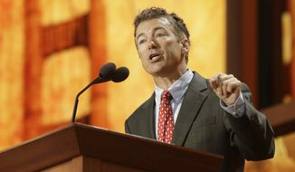 ** FILE ** Sen. Rand Paul, Kentucky Republican, addresses the Republican National Convention in Tampa, Fla., on Wednesday, Aug. 29, 2012. (AP Photo/Charles Dharapak)