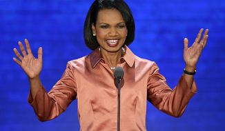 Former Secretary of State Condoleezza Rice reacts to the delegates as she arrives to address the Republican National Convention in Tampa, Fla., on Wednesday, Aug. 29, 2012. (AP Photo/J. Scott Applewhite)