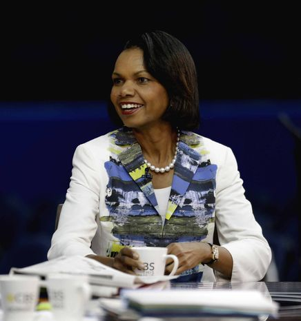 Former Secretary of State Condoleezza Rice sits down for a television interview on the floor of the Republican National Convention in Tampa,