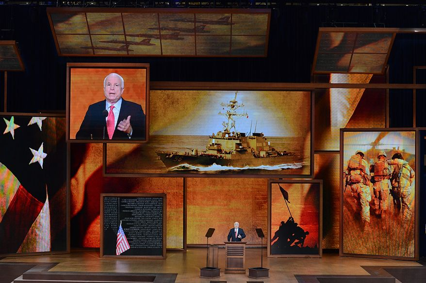 Senator John McCain, Ariz., addresses delegates at the Republican National Convention at the Tampa Bay Times Forum in Tampa, Fla. on Wednesday, August 29, 2012. (Rod Lamkey, Jr./ The Washington Times)