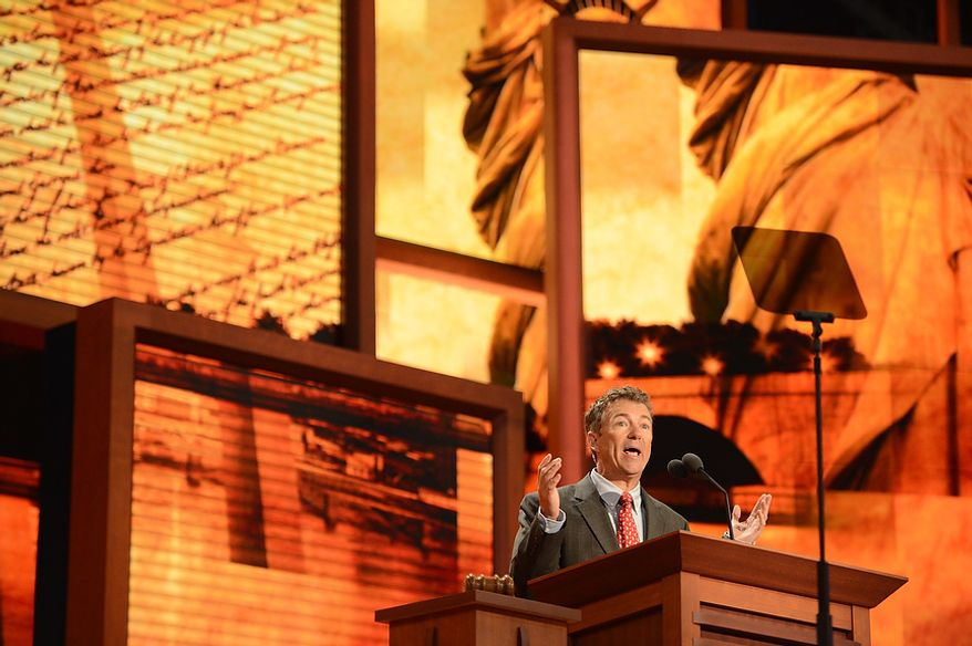 Sen. Rand Paul (R- Ky.) addresses delegates at the Republican National Convention at the Tampa Bay Times Forum in Tampa, Fla. on Wednesday, August 29, 2012. (Andrew Harnik/ The Washington Times)