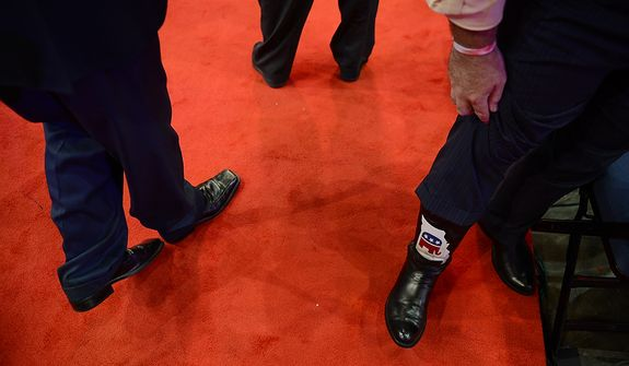 A Missouri Republican shows of his boots at the Republican National Convention at the Tampa Bay Times Forum in Tampa, Fla. on Wednesday, August 29, 2012. (Andrew Harnik/ The Washington Times)