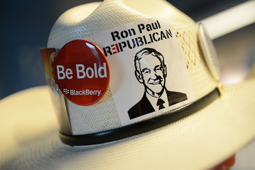 The hat of Ron Paul supporter Colin Denney, 26, of Dallas, Tex., at the Republican National Convention at the Tampa Bay Times Forum in Tampa, Fla. on Wednesday, August 29, 2012. (Rod Lamkey, Jr./ The Washington Times)