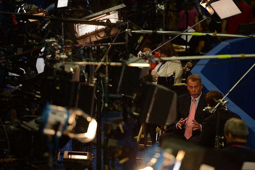 Speaker of the House John Boehner, R-Ohio, is interviewed before the beginning of the third day at the Republican National Convention at the Tampa Bay Times Forum in Tampa, Fla. on Wednesday, August 29, 2012. (Andrew Harnik/ The Washington Times)