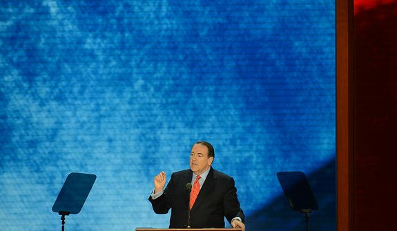 Mike Huckabee addresses the Republican National Convention at the Tampa Bay Times Forum in Tampa, Fla. on Wednesday, August 29, 2012. (Rod Lamkey, Jr./ The Washington Times)