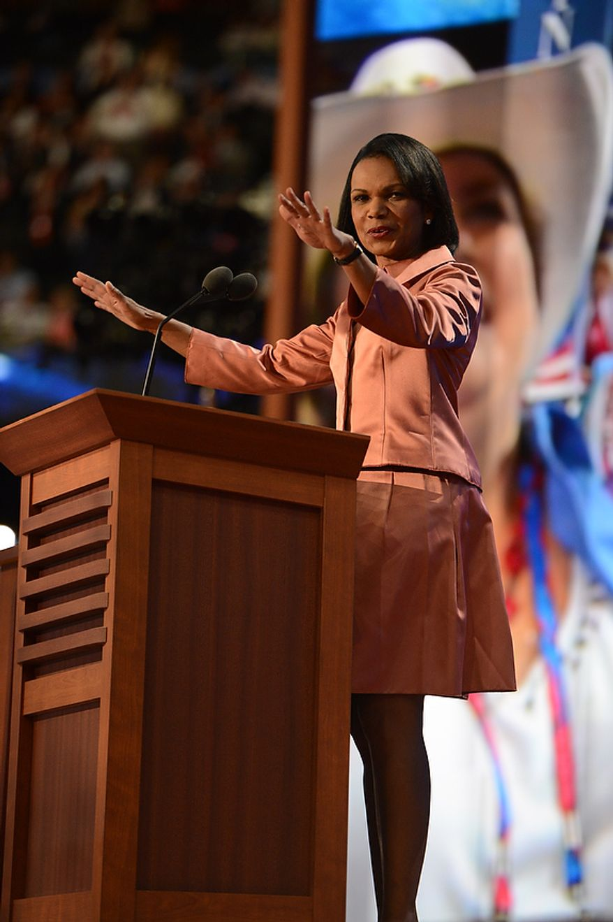 Condoleezza Rice addresses the Republican National Convention at the Tampa Bay Times Forum in Tampa, Fla., on Wednesday, Aug. 29, 2012. (Andrew Harnik/The Washington Times)