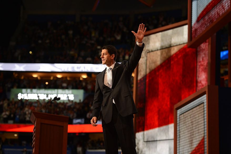 Rep. Paul Ryan, Wisconsin Republican and GOP vice presidential nominee, addresses the Republican National Convention at the Tampa Bay Times Forum in Tampa, Fla., on Aug. 29, 2012. (Andrew Harnik/The Washington Times)