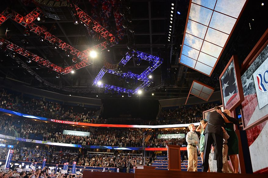 Vice presidential nominee, Rep. Paul Ryan, R-Wis., is joined by his wife Janna Ryan and family after he addressed the Republican National Convention at the Tampa Bay Times Forum in Tampa, Fla., on Wednesday, Aug. 29, 2012. (Andrew Harnik/The Washington Times)