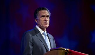 Republican presidential candidate Mitt Romney speaks Aug. 29, 2012, at the American Legion National Convention in Indianapolis. (Associated Press)