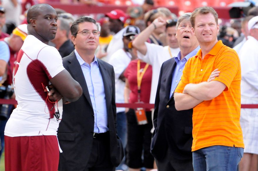 Washington Redskins linebacker London Fletcher (L) talks with Owner Dan Snyder and Dale Earnhardt Jr. (R) before the game at FedEx Field. (Preston Keres/Special to The Washington Times)