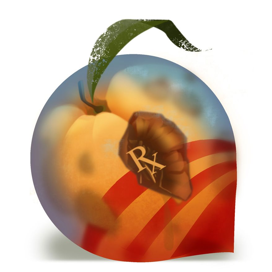 Illustration Obamacare Peach by Linas Garsys for The Washington Times