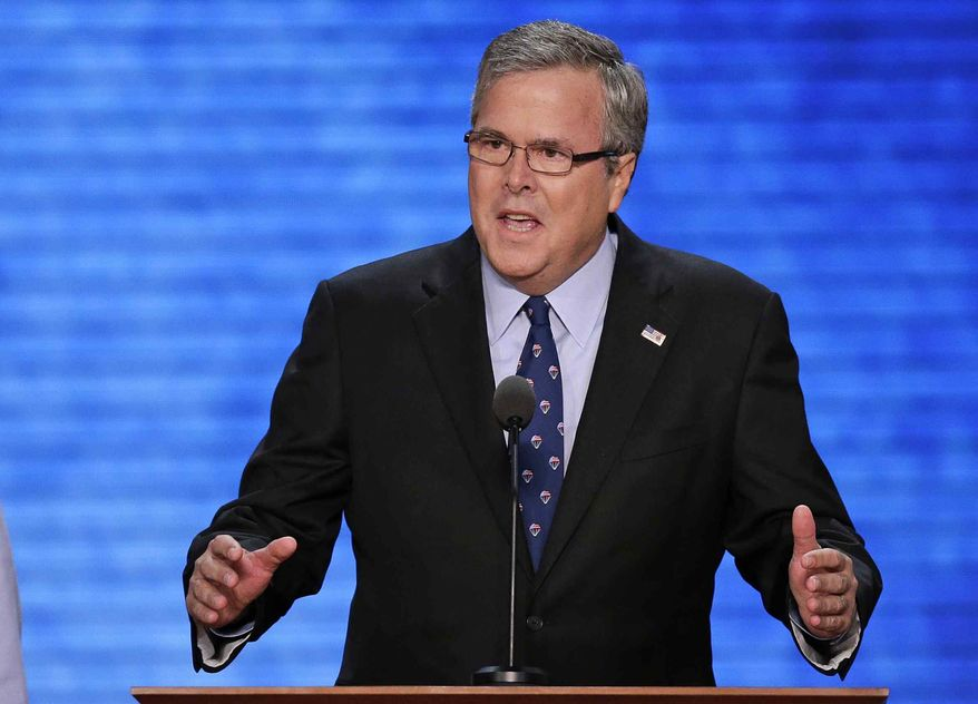 ** FILE ** Former Florida Gov. Jeb Bush addresses the Republican National Convention in Tampa, Fla., on Thursday, Aug. 30, 2012. (AP Photo/J. Scott Applewhite)