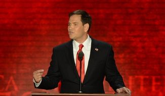 U.S. Sen. Marco Rubio of Florida addresses the Republican National Convention at the Tampa Bay Times Forum in Tampa, Fla., on Thursday, Aug. 30, 2012. (Rod Lamkey, Jr./The Washington Times)