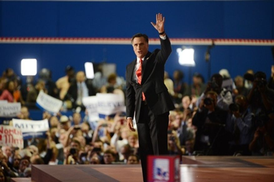 Mitt Romney accepts the nomination of the Republican Party for president of the United States at the Republican National Convention at the Tampa Bay Times Forum in Tampa, Fla., on Thursday, Aug. 30, 2012. (Andrew Harnik/The Washington Times)