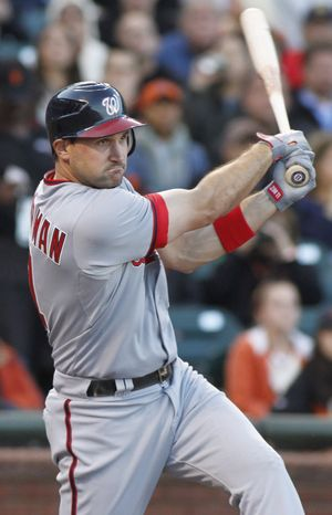 Washington Nationals' Ryan Zimmerman hits an RBI double against the San Francisco Giants during the first inning of a baseball game, Monday, Aug. 13, 2012 in San Francisco, Calif.  (AP Photo/George Nikitin)