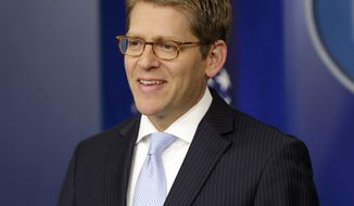 White House spokesman Jay Carney speaks Aug. 30, 2012, during his daily news briefing at the White House in Washington. (Associated Press)