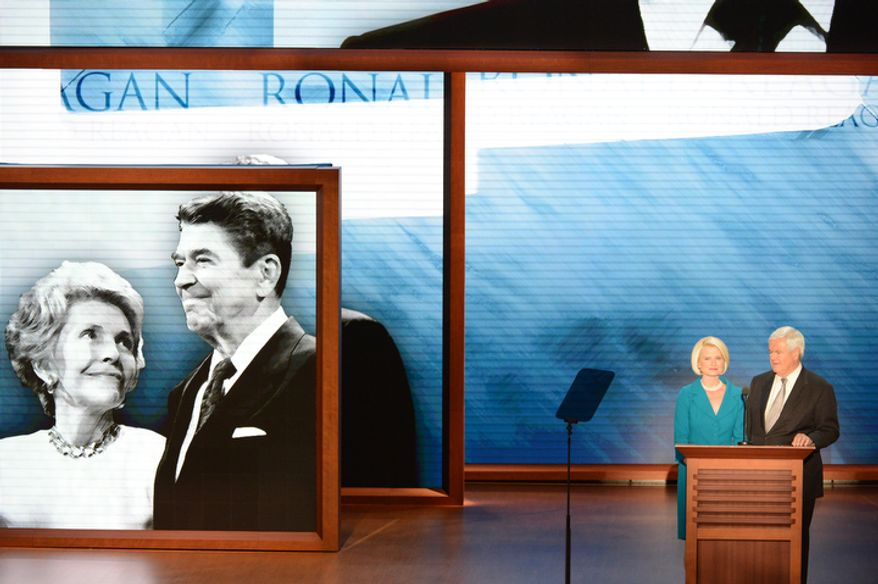 Newt and Callista Gingrich address the Republican National Convention. (Rod Lamkey, Jr./ The Washington Times)