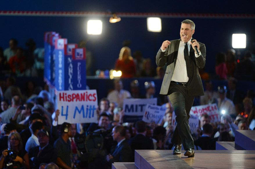 American Idol contestant Taylor Hicks sings at the Republican National Convention. (Andrew Harnik/ The Washington Times)