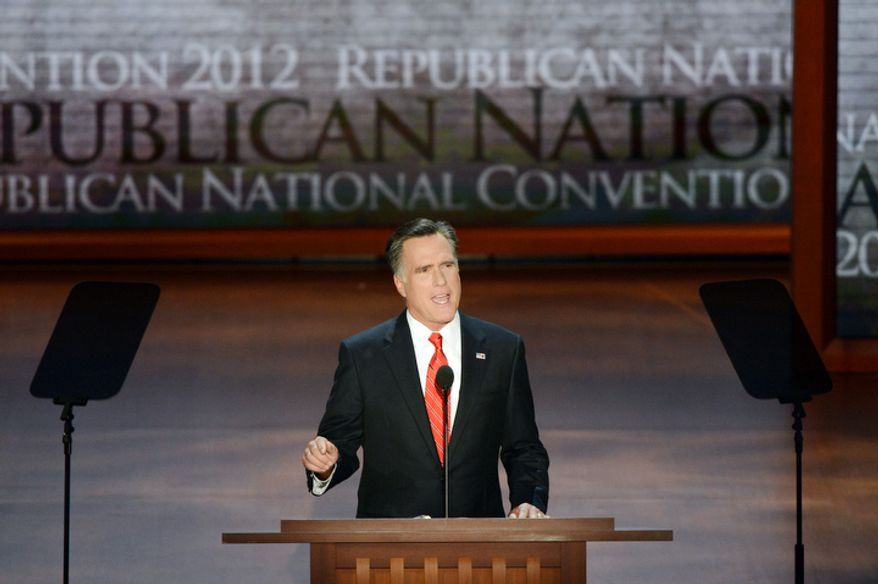 **FILE ** Mitt Romney accepts the nomination of the Republican Party for President of the United States at the Republican National Convention at the Tampa Bay Times Forum in Tampa, Fla. on Thursday, August 30, 2012. (Rod Lamkey, Jr./ The Washington Times)