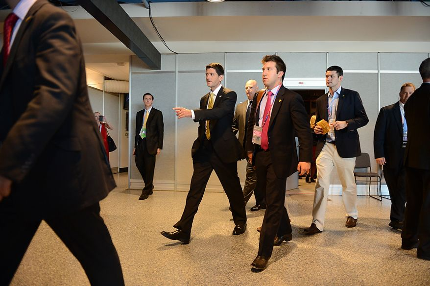 Vice-presidential nominee Rep. Paul Ryan walks from an interview with Wolf Blitzer on CNN at the Republican National Convention at the Tampa Bay Times Forum in Tampa, Fla. on Thursday, August 30, 2012. (Andrew Harnik/ The Washington Times)