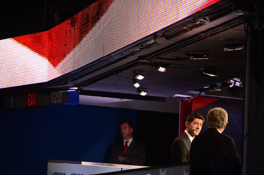 Vice-presidential nominee Rep. Paul Ryan is interviewed by Wolf Blitzer on CNN at the Republican National Convention at the Tampa Bay Times Forum in Tampa, Fla. on Thursday, August 30, 2012. (Andrew Harnik/ The Washington Times)