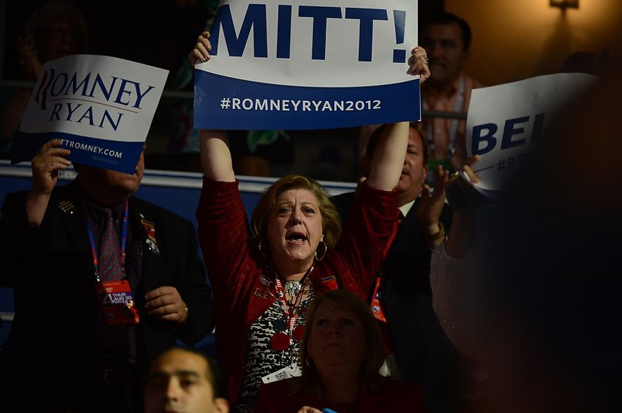 A supporter screams as Mitt Romney accepts the nomination of the Republican Party for President of the United States at the Republican National Convention at the Tampa Bay Times Forum in Tampa, Fla. on Thursday, August 30, 2012. (Andrew Harnik/ The Washington Times)