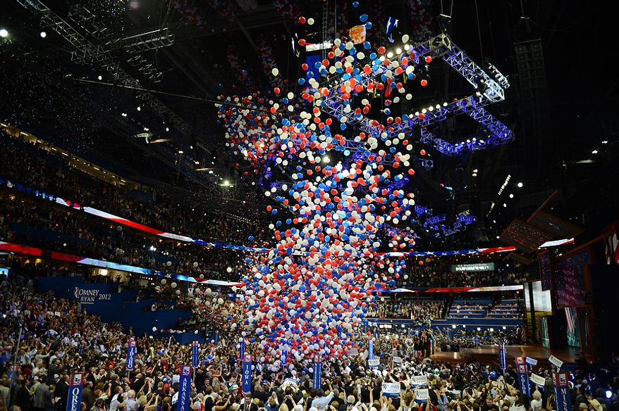 The Celebration begins as Mitt Romney accepts the nomination of the Republican Party for President of the United States at the Republican National Convention at the Tampa Bay Times Forum in Tampa, Fla. on Thursday, August 30, 2012. (Andrew Harnik/ The Washington Times)