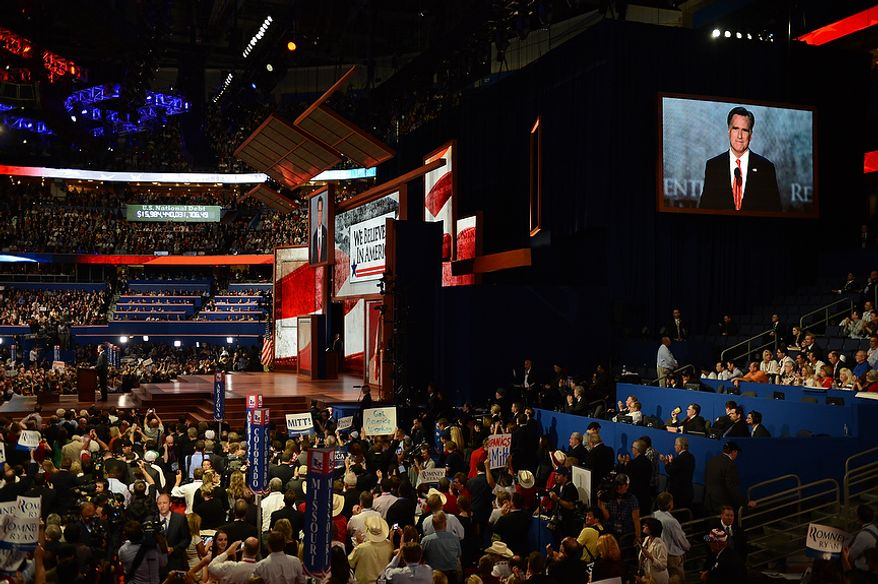 Mitt Romney accepts the nomination of the Republican Party for President of the United States at the Republican National Convention at the Tampa Bay Times Forum in Tampa, Fla. on Thursday, August 30, 2012. (Andrew Harnik/ The Washington Times)