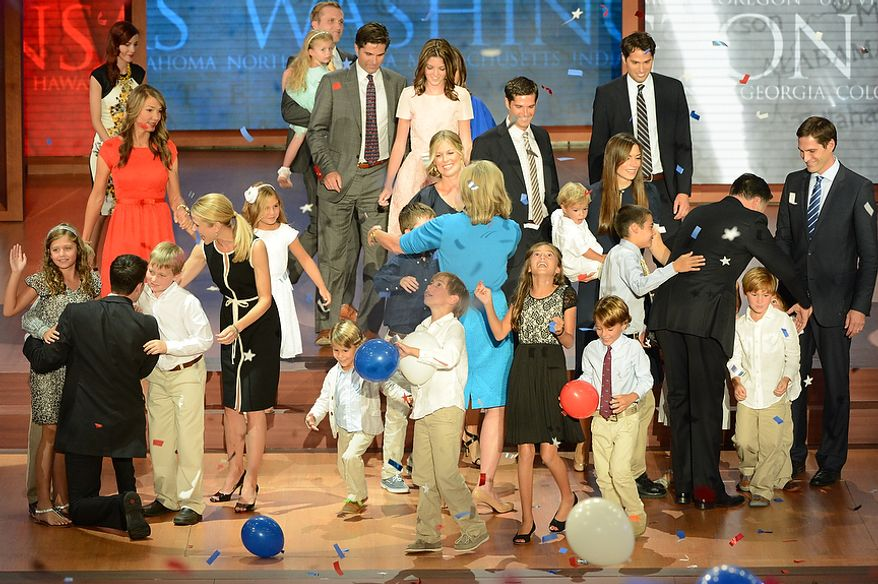Republican presidential nominee Mitt Romney is joined on stage by his running mate, vice-presidential nominee Rep. Paul Ryan, their wives Ann Romney and Janna Ryan and families after Romney accepted the nomination of the Republican Party for President of the United States at the Republican National Convention at the Tampa Bay Times Forum in Tampa, Fla. on Thursday, August 30, 2012. (Rod Lamkey, Jr./ The Washington Times)