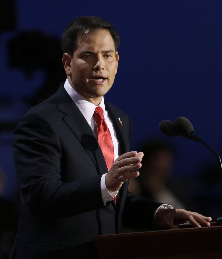 Florida Sen. Marco Rubio addresses delegates during the Republican National Convention in Tampa, Fla., on Thursday, Aug. 30, 2012. (AP Photo/Charlie Neibergall)