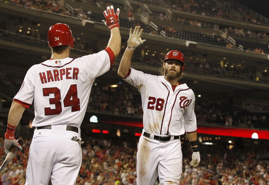 Jayson Werth and Bryce Harper sparked the Nationals in their win over the Cardinals Thursday night. (Associated Press)
