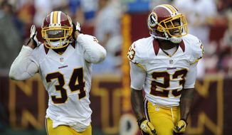 Washington Redskins safety Tanard Jackson (34) and DeAngelo Hall (23) reacts after a play against the Indianapolis Colts during a preseason NFL football game, Saturday, Aug. 25, 2012, in Landover, Md. (AP Photo/Nick Wass)