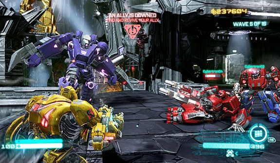 Up to four players can fight off waves of enemies in the video game Transformers: Fall of Cybertron.