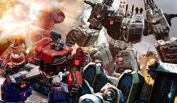 Optimus Prime and Metroplex in battle in the video game Transformers: Fall of Cybertron.