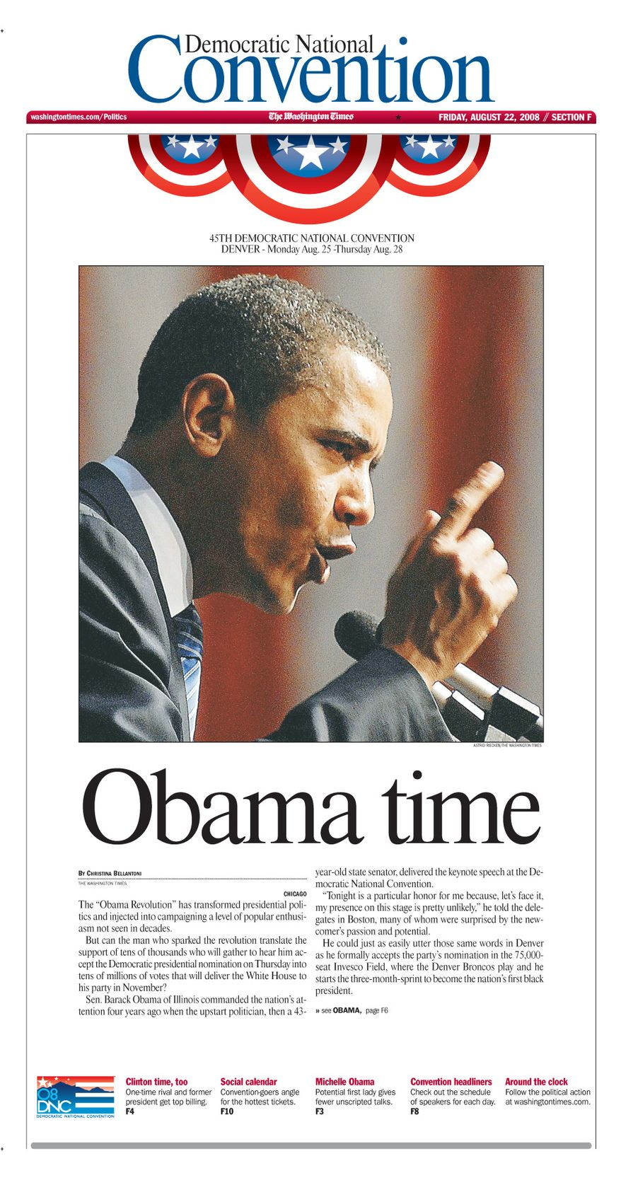 "The Washington Times - Page F1 - Friday, August 22, 2008 - ""Obama time"""