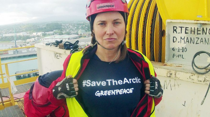 "Actress Lucy Lawless joined other activists in stopping a Shell-contracted drill ship from departing the port of Taranaki in New Zealand. Miss Lawless was arrested on trespassing charges to which she pleaded guilty, but said she had ""no regrets."" (Associated Press)"
