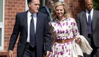 Mitt Romney, the Republican presidential nominee, and his wife, Ann, leave the Church of Jesus Christ of Latter-day Saints in Wolfeboro, N.H., on Sunday. (Associated Press)