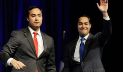 San Antonio Mayor Julian Castro (right), with his twin brother Texas State Rep. Joaquin Castro, will be the keynote speaker at the Democratic National Convention in Charlotte, N.C., on Tuesday. His brother will introduce him. (Associated Press)