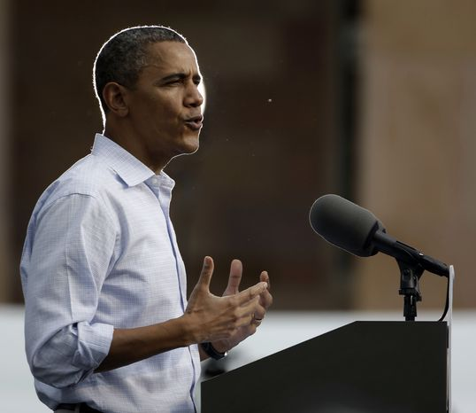 President Obama speaks during a campaign event at the University of Colorado in Boulder, Colo., on Sunday, Sept. 2, 2012. (AP Photo/Pablo Martinez Monsivais)