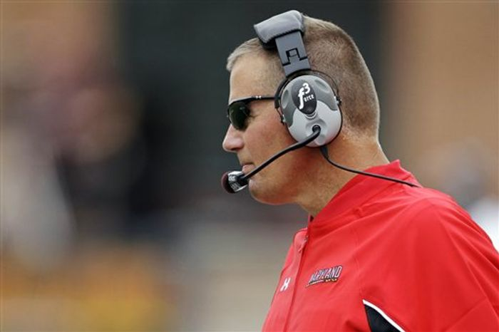 Maryland coach Randy Edsall watches from the sideline during the third quarter of a college football game against William & Mary, Saturday, Sept. 1, 2012, in College Park, Md. Maryland won 7-6. (AP Photo/Luis M. Alvarez)